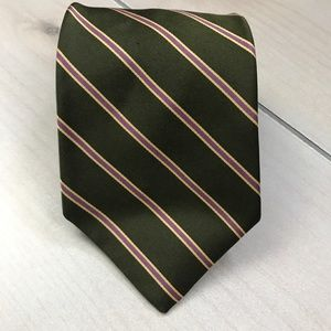 Brooks Brothers Olive Green Striped Silk Neck Tie